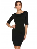 Noir Women Sexy Cross Deep V-Neck moitié manches solides Bodycon Slim Pencil Club Dress