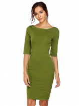 Green Mulheres Sexy Cross Deep V-Neck Meia manga Vestido Solid Bodycon Slim Pencil Club