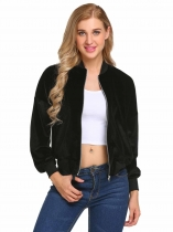 Black Velvet Zip Up Long Sleeve Slim Short Bomber Jacket
