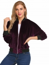 Wine red Velvet Zip Up Long Sleeve Slim Short Bomber Jacket