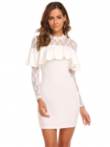 Blanco Mujeres Floral Lace manga larga rizado Cocktail Bodycon mini vestido