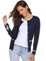 Dark blue Long Sleeve Soft Knit Button Front Cardigan