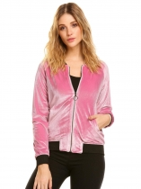 Pink Women Full Zip Fleece Slim Fit Short Casual Bomber Jacket with Pocket