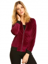 Wine red Women Full Zip Fleece Slim Fit Short Casual Bomber Jacket with Pocket