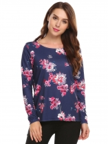 Navy blue Long Sleeve Floral Print Loose O-Neck Sweatshirt