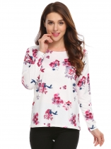 White Long Sleeve Floral Print Loose O-Neck Sweatshirt