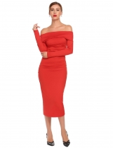 Red Women Slash Neck Off the Shoulder Long Sleeve Bodycon Slim Solid Sexy Dress