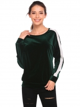 Dark green Long Sleeve Contrast Color Patchwork Velvet Sweatshirts