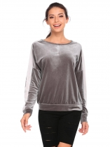 Grey Long Sleeve Contrast Color Patchwork Velvet Sweatshirts