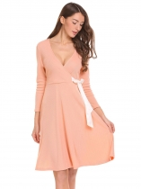Apricot Deep V-Neck Long Sleeve Solid Lace Up Waist Fit and Flare Going Out Dress