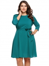 Peacock Blue Plus Size Chiffon 3/4 Sleeve Dress With Belt