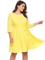 Yellow Plus Size Chiffon 3/4 Sleeve Dress With Belt