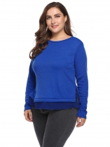 Royal Blue Plus Size Long Sleeve Patchwork Split Hem Sweaters
