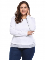 White Plus Size Long Sleeve Patchwork Split Hem Sweaters
