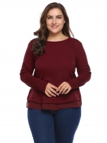 Wine red Plus Size Long Sleeve Patchwork Split Hem Sweaters