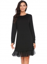 Black Long Sleeve Chiffon Patchwork Dress