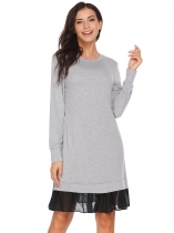 Light gray Long Sleeve Chiffon Patchwork Dress