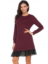 Wine red Long Sleeve Chiffon Patchwork Dress