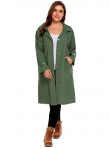 Army green Women's Plus Size Hoodie Long Sleeve Solid Pockets Button Lightweight Raincoat