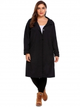 Black Women's Plus Size Hoodie Long Sleeve Solid Pockets Button Lightweight Raincoat