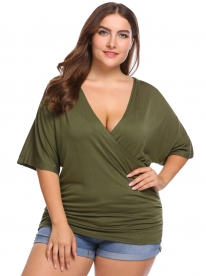 1d23c948b7075b Army green Solid Plus Size Cross V-Neck Half Sleeve Tops. QUICK VIEW.  INVOLAND