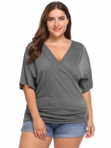 Gray Solid Plus Size Cross V-Neck Half Sleeve Tops