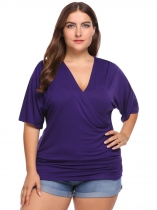 Purple Solid Plus Size Cross V-Neck Half Sleeve Tops