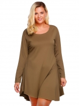 Brown O-Neck Long Sleeve Solid Asymmetric A-Line Dress