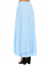 Light blue Women Maxi Full Length Skirt Casual Solid Elastic Waist Double Layer