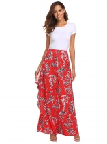 Red Women High Elastic Waist Imprimer Bohemia Style Maxi Long Skirt Ruffles Beach