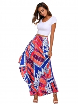 Multi Women High Elastic Waist Imprimer Bohemia Style Maxi Long Skirt Ruffles Beach