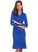 Royal Blue Retro Style Long Sleeve Solid V Neck Official Fitted Casual Dress