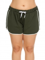 Army green Plus Size Elastic Waist Patchwork Drawstring Shorts