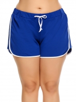 Blue Plus Size Elastic Waist Patchwork Drawstring Shorts