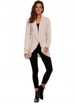 Apricot Long Sleeve Solid Open Front Cardigan