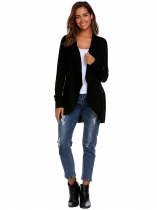 Black Long Sleeve Solid Open Front Cardigan