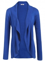 Navy blue Long Sleeve Solid Open Front Cardigan