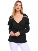 Noir Women Casual Wrap V Neck Long Sleeve Lace Patchwork Ruffles Top Blouse