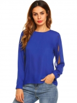 Dark blue O Neck Solid Loose Split Sleeve Chiffon Blouse