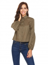 Verde do Exército Moda Feminina Long Lantern Sleeve Solid Casual Short Button Shirt