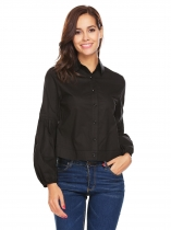 Black Women Fashion Long Lantern Sleeve Solid Casual Short Button Down Shirt