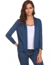 Dark blue Front Open Ruffle Elastic Cuffs Solid Jacket