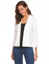 White Front Open Ruffle Elastic Cuffs Solid Jacket