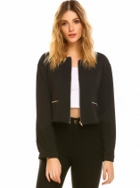 Black Women's O-Neck Full Zip Solid Short Irregular Casual Jacket with Pocket