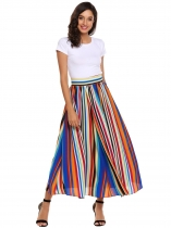 Multi-color1 Femmes Casual Prints Haute taille A Line plissé Hem Swing Side Zipper Sexy Skirt
