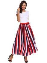 Multi-color2 High Waist A-Line Pleated Hem Swing Side Zipper Sexy Skirt