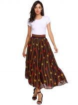 Multi-color3 Mujeres Casual Impresiones Alta cintura A Line plisado Hem Swing Side Zipper Sexy Skirt