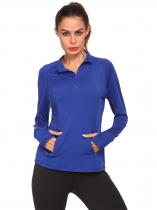 Blue Long Sleeve Solid Zipper Sport Fitness Tops