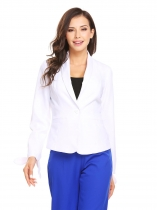 White Women Shawl Lapel Knotted Sleeve One Button Slim Fit Casual Office Blazer
