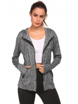 Grey Long Sleeve Zipper Lightweight Jacket with Side Pockets